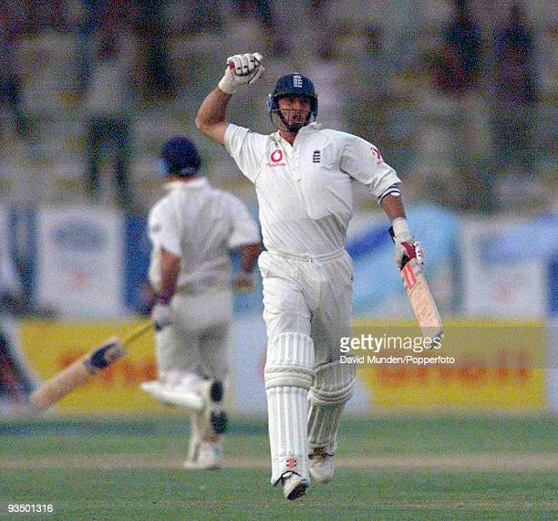 England captain Nasser Hussain celebrates as England clinch a dramatic victory in near darkness at the end of the fifth day of the 3rd Test match...