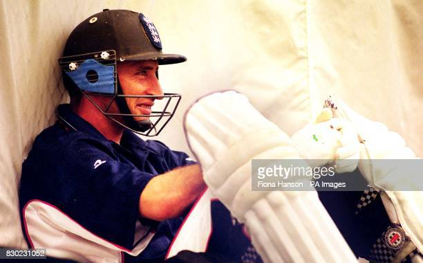 England captain Nasser Hussain during England cricket training at Lords Indoor Cricket Centre in London ahead of the first day of the Fourth Test...