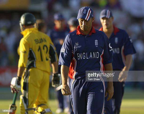 England captain Nasser Hussain walks off looking dejected during the ICC Cricket World Cup 2003 Pool A match between Australia and England held on...