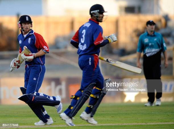 England captain Paul Collingwood and Owais Shah complete a 100 run partnership during the National Bank Twenty20 International match at the AMI...