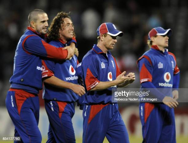 England captain Paul Collingwood leads his winning team off the field at the end of the National Bank Twenty20 International match at the AMI Stadium...