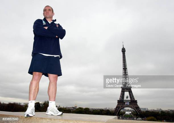 England captain Phil Vickery poses for photographs at the Eiffel Tower Paris France