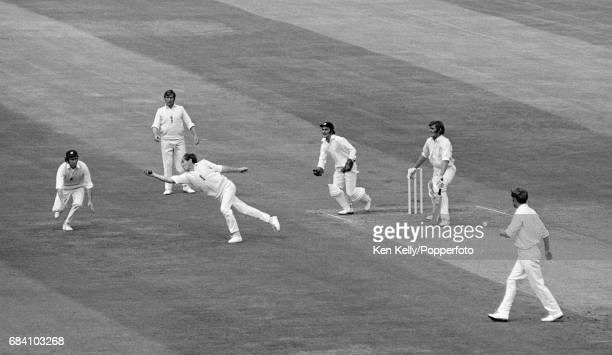 England captain Ray Illingworth takes the catch to dismiss Australian batsman Paul Sheahan for 0 off the bowling of Derek Underwood during the 4th...