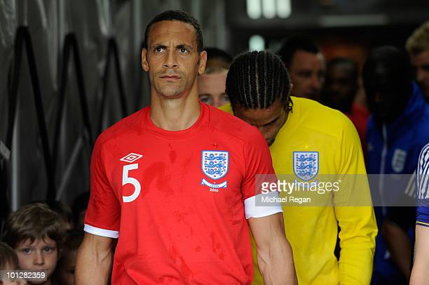 England captain Rio Ferdinand waits to lead the team out during the International Friendly match between Japan and England at the UPCArena on May 30...