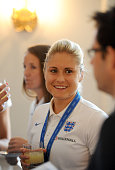 England captain Steph Houghton is pictured as the Duke of Cambridge meets members of the England Women's Football team during a breakfast reception...
