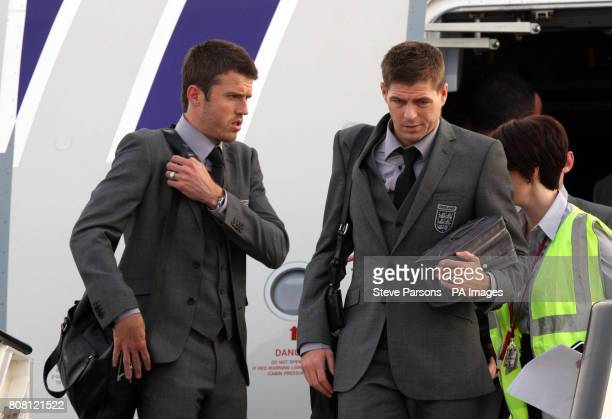 England captain Steven Gerrard and Michael Carrick arrives at Heathrow Airport London