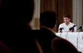 England captain Steven Gerrard talks to the media during the England Press Conference at The Grove Hotel ahead of the friendly match against Scotland...