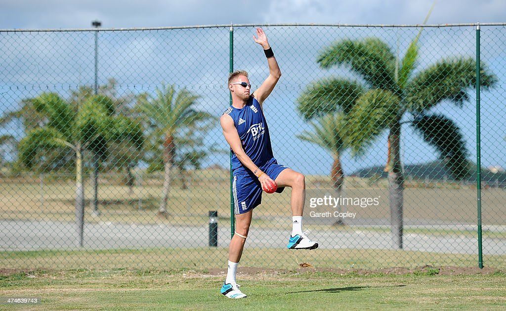 England captain Stuart Broad bowls during a nets session at Sir Viv Richards Cricket Ground on February 24, 2014 in Antigua, Antigua and Barbuda.