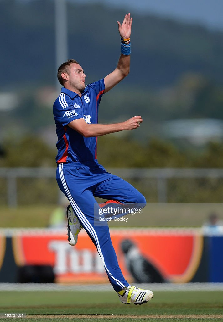 England captain Stuart Broad bowls during a T20 Practice Match between New Zealand XI and England at Cobham Oval on February 5, 2013 in Whangarei, New Zealand.