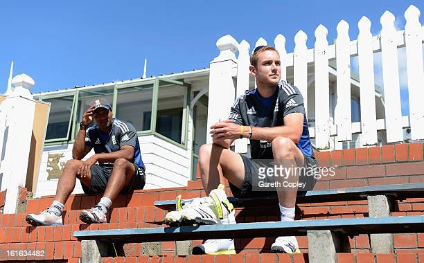 England captain Stuart Broad looks on alongside Samit Patel during a England nets session at Basin Reserve on February 14 2013 in Wellington New...