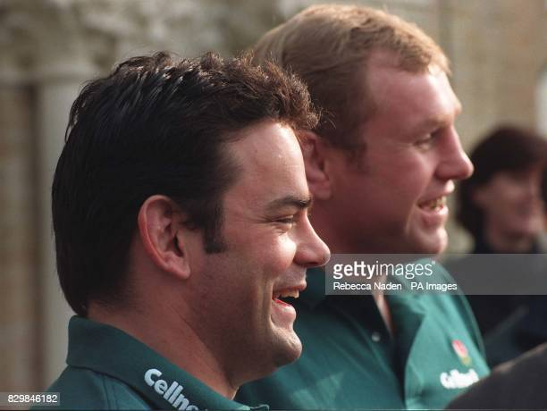 England captain Will Carling and Dean Richards pose for the cameras at a news conference in Richmond in buildup for the Five Nations Triple Crown...