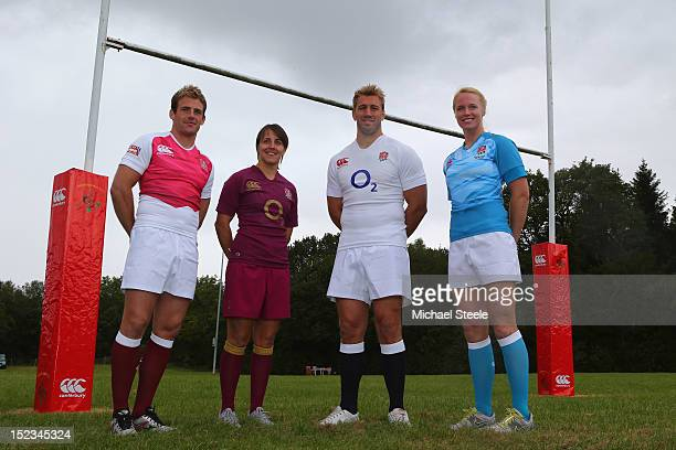 England captains Chris Robshaw Katy McLean Rob Vickerman and Michaela Staniford pose during the official launch of the new England rugby union kit at...