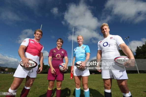 England captains Chris Robshaw Michaela Staniford Katy McLean and Rob Vickerman pose during the official launch of the new season's England...