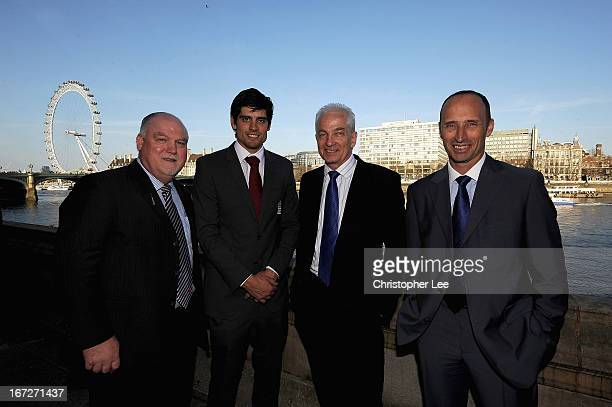 England Captain's past and present Mike Gatting Alastair Cook David Gower and Nasser Hussain attend the Summer of Cricket reception at Houses of...
