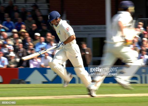 England captian Michael Vaughan and Kevin Pietersen run between the wickets during the first day of the Second npower Test match at Headingley...