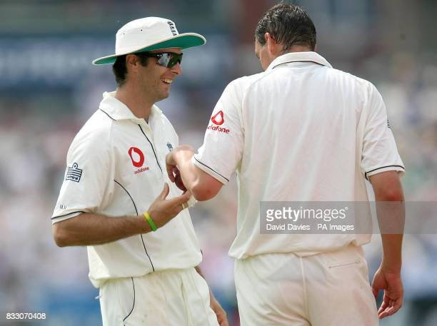 England captian Michael Vaughan congratulates Steve Harmison after taking the wicket of West Indies Runako Morton during the npower Third Test match...