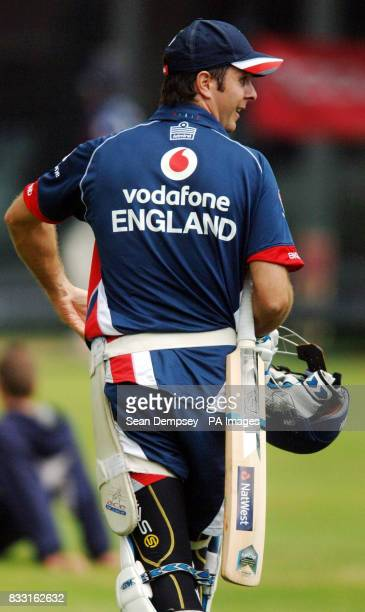 England captian Michael Vaughan during a nets session at Lord's Cricket Ground London