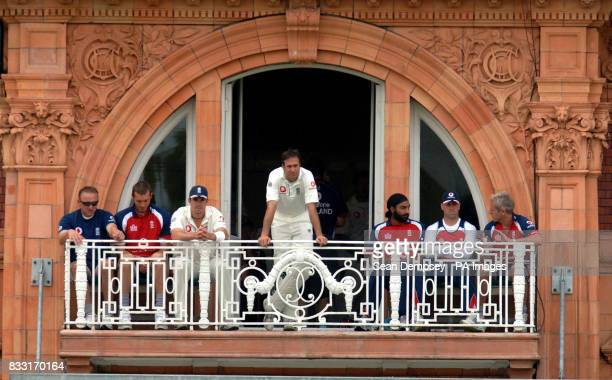 England captian Michael Vaughan watches from the Balcony during the First npower Test at Lord's Cricket Ground London