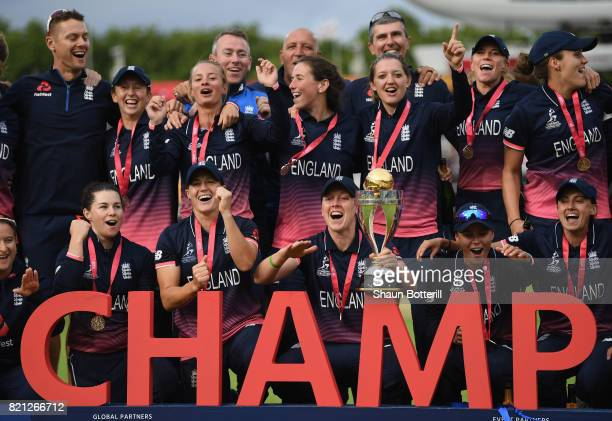 England ccatain Heather Knight and teammates celebrate after winning the ICC Women's World Cup 2017 Final between England and India at Lord's Cricket...