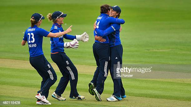 England celebrate after Australia batsman Elyse Villani is caught by Jenny Gunn off the bowling of Georgia Elwiss during the 3rd Royal London ODI of...