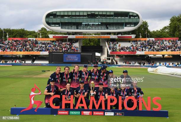 England celebrate after winning the ICC Women's World Cup 2017 Final between England and India at Lord's Cricket Ground on July 23 2017 in London...