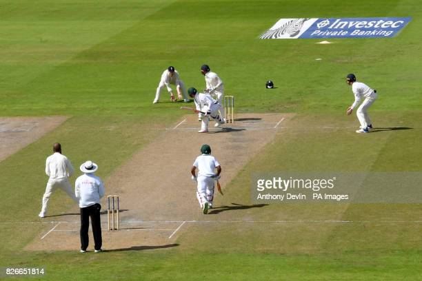 England celebrate as South Africa's Heino Kuhn is caught behind by England's Ben Stokes for 24 runs during day two of the Fourth Investec Test at...