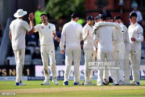 England celebrate as South Africa's Kagiso Rabada is caught on 1 run during day four of the Fourth Investec Test at Emirates Old Trafford Manchester