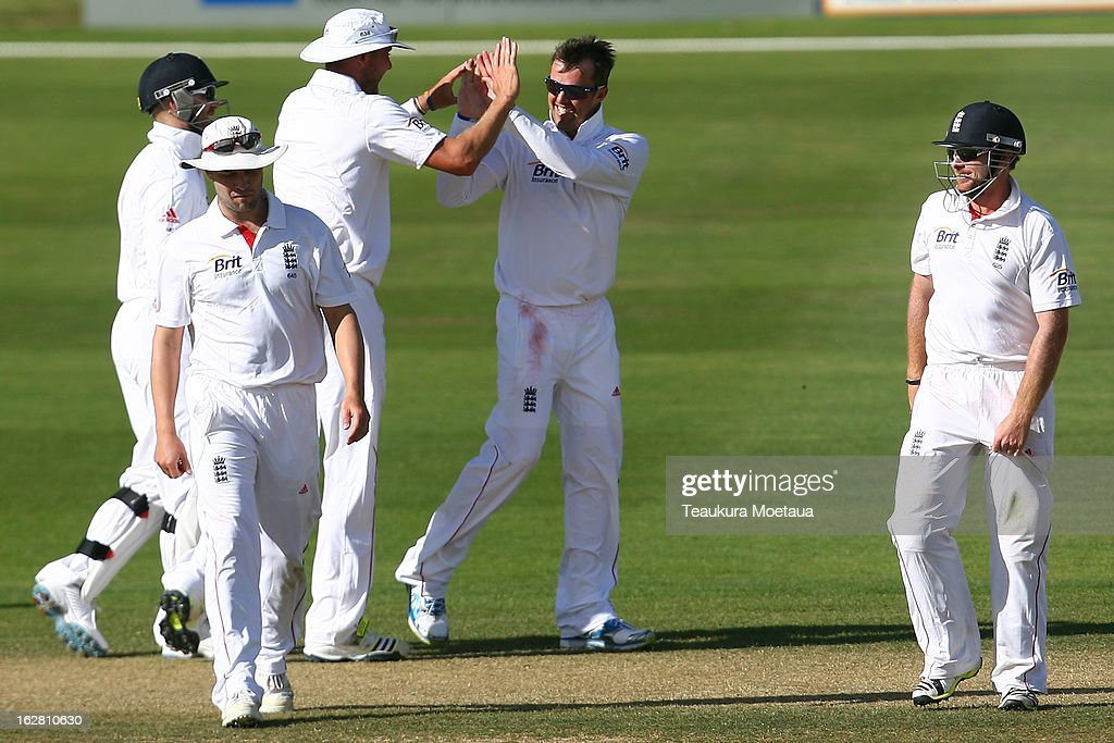 England celebrate during day two of the International tour match between the New Zealand XI and England at Queenstown Events Centre on February 28, 2013 in Queenstown, New Zealand.