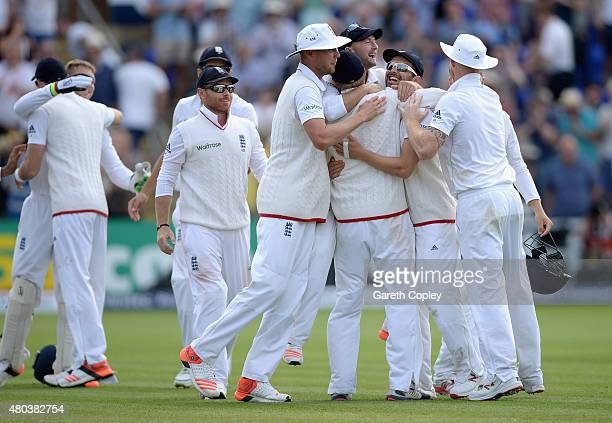 England celebrate winning the 1st Investec Ashes Test match between England and Australia at SWALEC Stadium on July 11 2015 in Cardiff United Kingdom