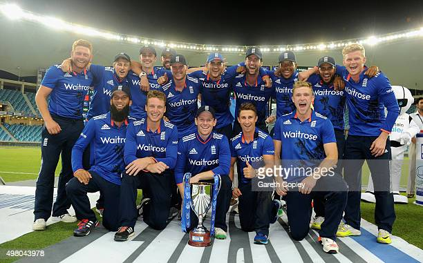 England celebrate winning the One Day International series between Pakistan and England at Dubai Cricket Stadium on November 20 2015 in Dubai United...
