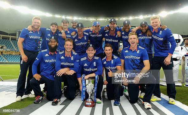 England celebrate winning the One Day International series between Pakistan and England at Dubai Cricket Stadium on November 20 2015 in Dubai United...