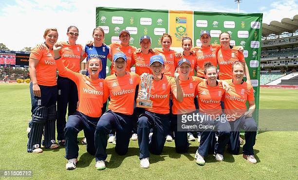 England celebrate winning the T20 International series between South Africa and England at Wanderers Stadium on February 21 2016 in Johannesburg...