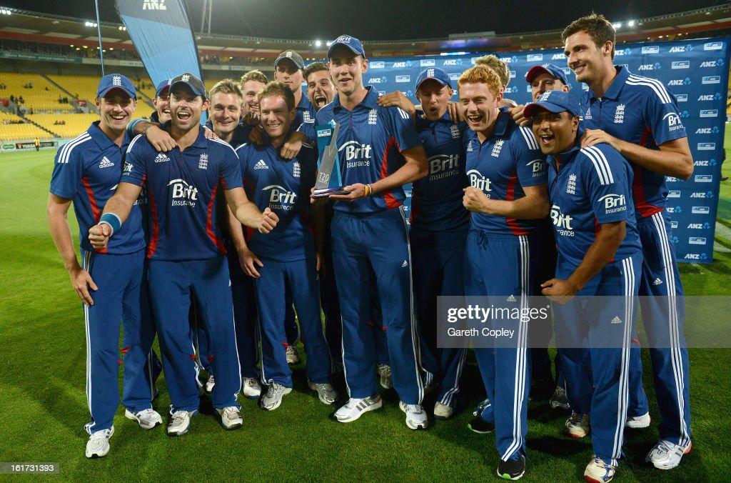 England celebrate winning the third Twenty20 International match between New Zealand and England at Westpac Stadium on February 15, 2013 in Wellington, New Zealand.