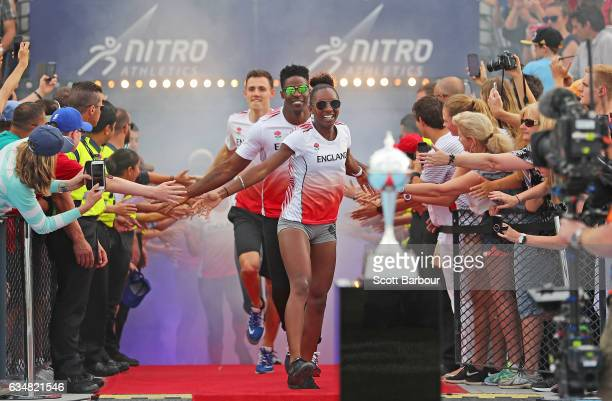 England celebrate with supporters in the crowd as they run onto the track during the Melbourne Nitro Athletics Series at Lakeside Stadium on February...