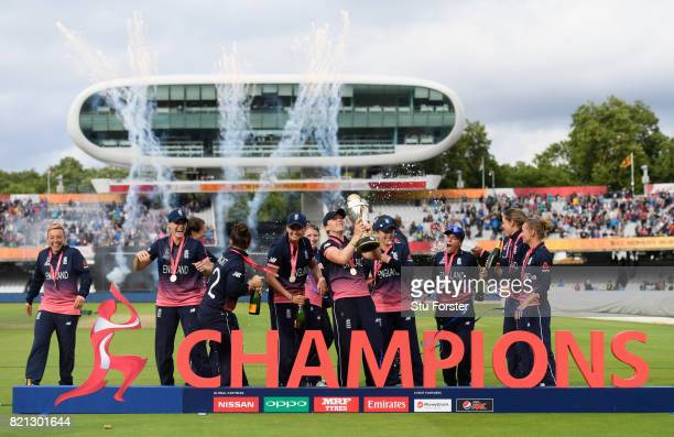 England celebrate with the trophy after the ICC Women's World Cup 2017 Final between England and India at Lord's Cricket Ground on July 23 2017 in...