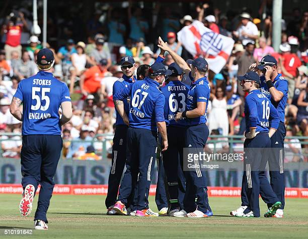 England celebrates during the 5th Momentum ODI Series match between South Africa and England at PPC Newlands on February 14 2016 in Cape Town South...