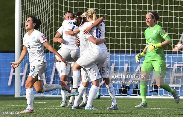 England celebrates its 21 victory over Norway in a 2015 FIFA Women's World Cup Round of 16 football match at Lansdowne Stadium in Ottawa on June 22...