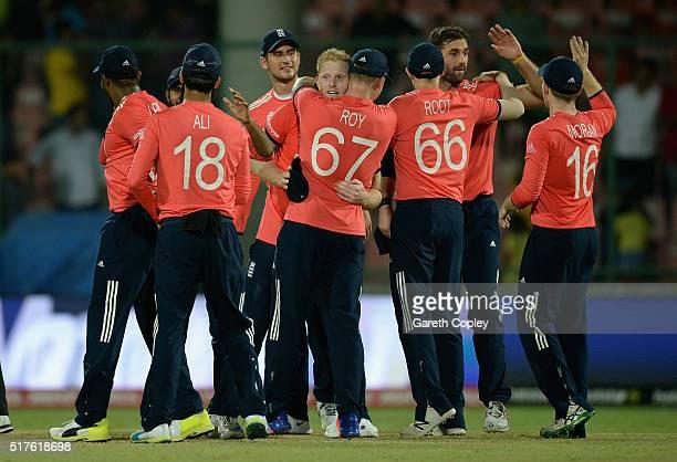 England celebrates winning the ICC World Twenty20 India 2016 Group 1 match between England and Sri Lanka at Feroz Shah Kotla Ground on March 26 2016...