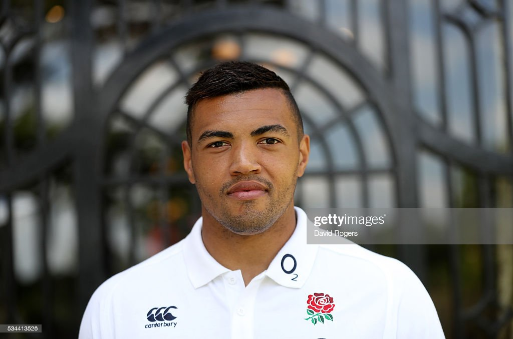 England centre, <a gi-track='captionPersonalityLinkClicked' href=/galleries/search?phrase=Luther+Burrell&family=editorial&specificpeople=871965 ng-click='$event.stopPropagation()'>Luther Burrell</a>, poses during the England media session held at Pennyhill Park on May 26, 2016 in Bagshot, England.