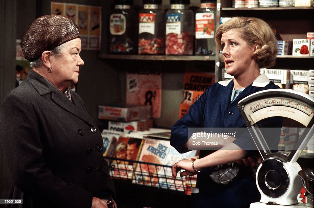 England, Circa 1970, Actress Irene Sutcliffe (right) who plays the role of Maggie Clegg is pictured with Violet Carson as Ena Sharples in a scene from the television series 'Coronation Street'