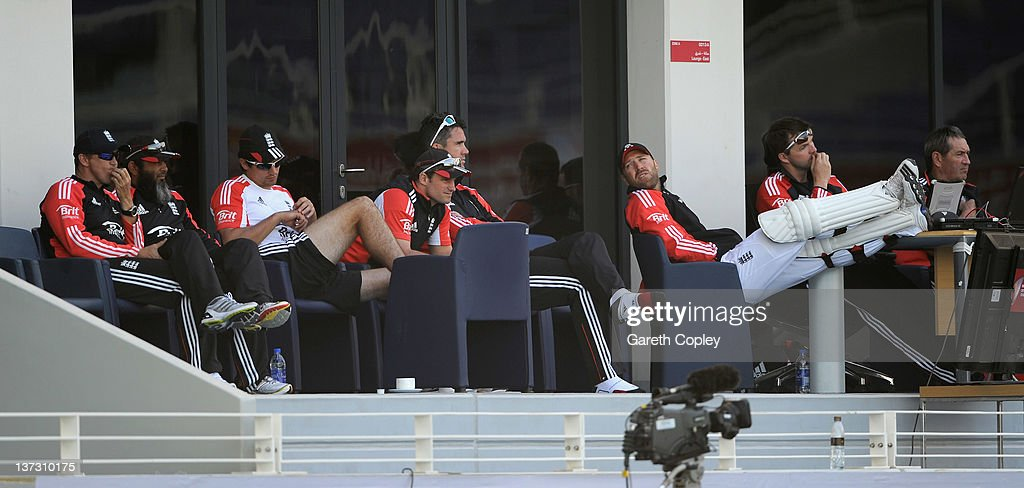 England coach Andy Flower Mushtaq Ahmed Alastair Cook captain Andrew Strauss Kevin Pietersen and Matt Prior watch play from the dressing room during...