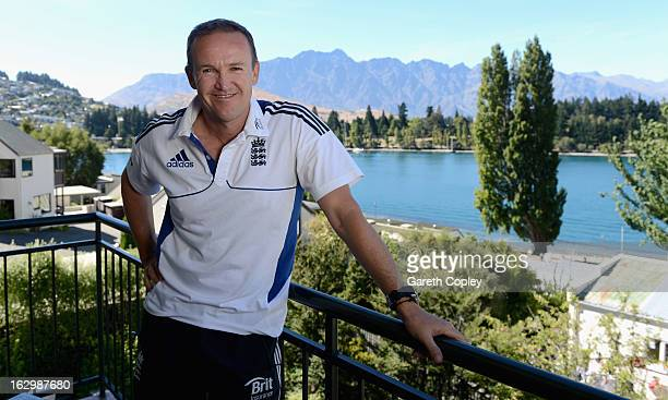 England coach Andy Flower poses a portrait after a press conference at the team hotel on March 3 2013 in Queenstown New Zealand