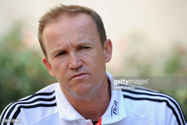 England coach Andy Flower speaks during a press conference at the team hotel on February 7 2012 in Dubai United Arab Emirates
