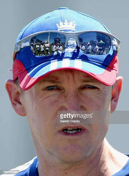 England coach Andy Flower speaks to his team ahead of a nets session at the WACA on October 28 2013 in Perth Australia