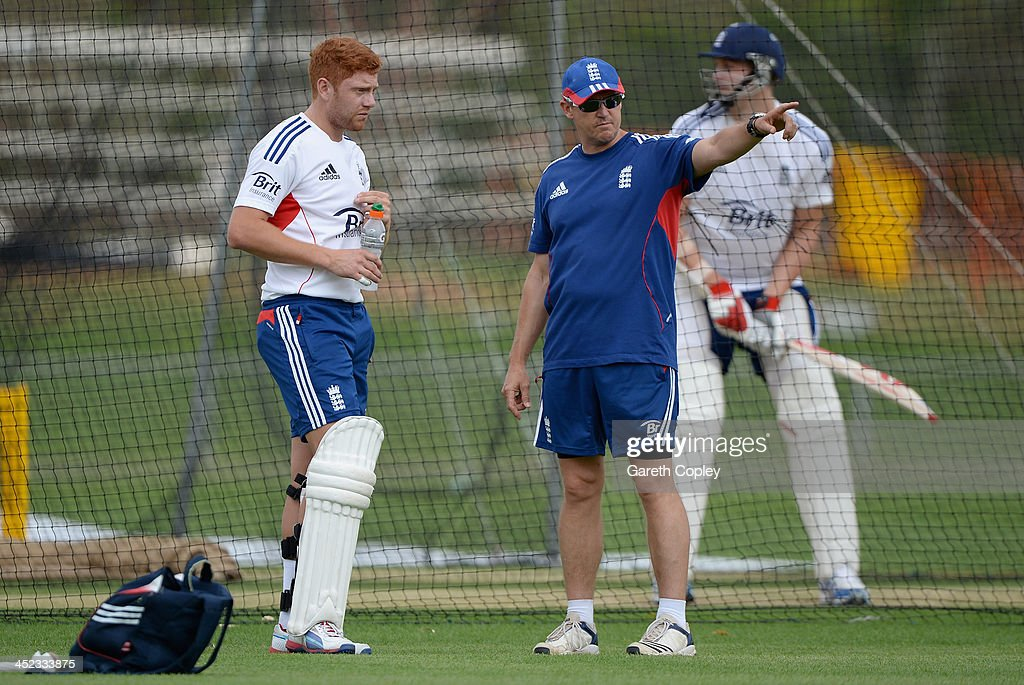 England coach Andy Flower speaks with <a gi-track='captionPersonalityLinkClicked' href=/galleries/search?phrase=Jonathan+Bairstow&family=editorial&specificpeople=6893210 ng-click='$event.stopPropagation()'>Jonathan Bairstow</a> during a nets session at Traeger Park on November 28, 2013 in Alice Springs, Australia.