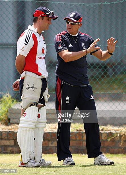England coach Andy Flower talks to England captain Andrew Strauss during an England nets session at Newlands Cricket Ground on January 1 2010 in Cape...