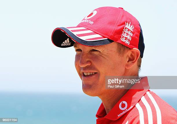 England coach Andy Flower talks to the media at the team hotel during the England cricket tour on December 22 2009 in Durban South Africa