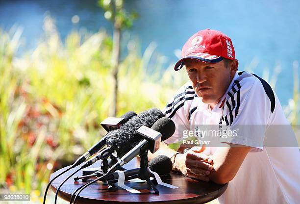 England coach Andy Flower talks to the media at the team hotel during the England cricket tour on January 8 2010 in Cape Town South Africa