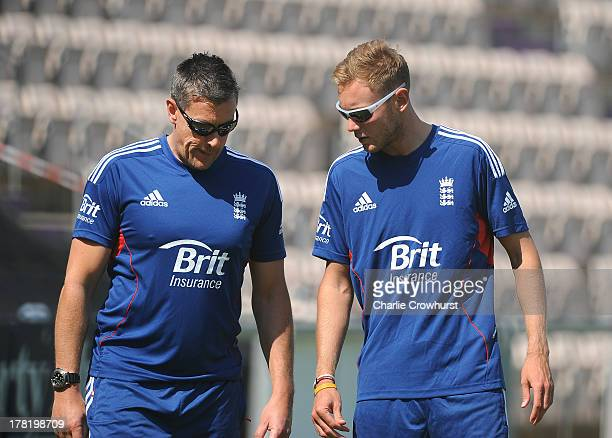 England coach Ashley Giles chats to Stuart Broad during the England Nets Session at The Ageas Bowl on August 27 2013 in Southampton England