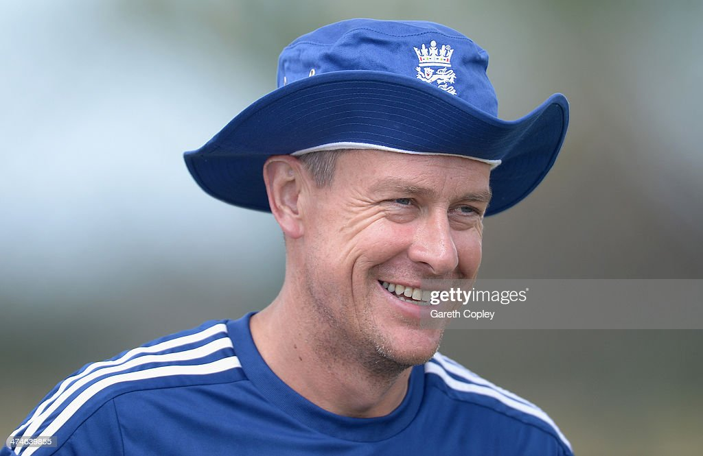 England coach Ashley Giles during a nets session at Sir Viv Richards Cricket Ground on February 24, 2014 in Antigua, Antigua and Barbuda.